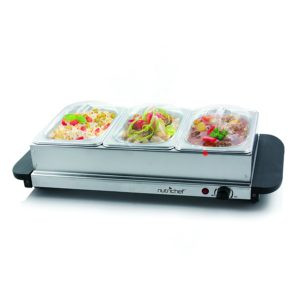 Gift Ideas for Mom on Mother's Day - NutriChef 3 Tray Buffet Server & Hot Plate Food Warmer, Tabletop Electric Food Warming Tray