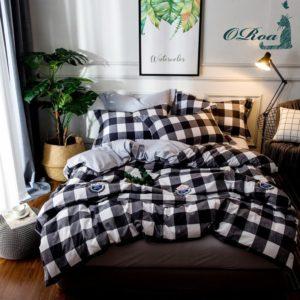 Best Dorm Bedding Sets - ORoa 3 Piece Duvet Cover and Pillow Shams Bedding Set Twin Cotton 100 for Kids Boys, Print Plaid Pattern White Black