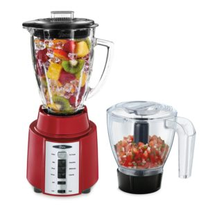 Oster Rapid Blender 8-Speed Blender with Glass Jar and Bonus 3-Cup Food Processor, Metallic Red, BCCG08-RFP-NP9
