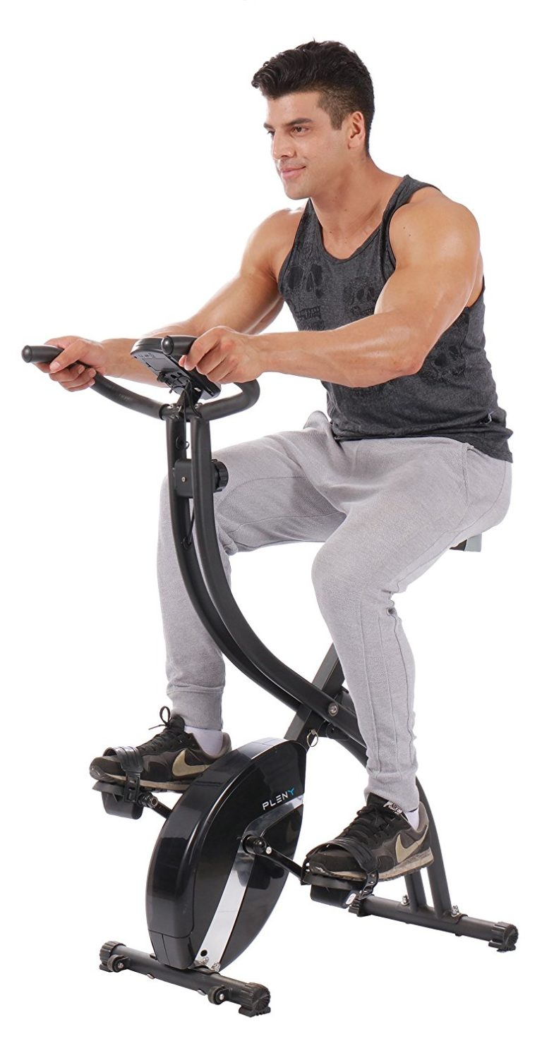PLENY Foldable Magnetic Exercise Bike with 16 Level Resistance, Hand Pulse