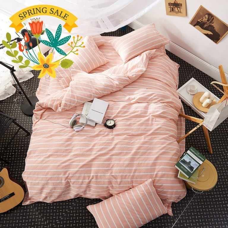 Pink Duvet Cover Twin Striped Duvet Cover Washed Cotton Girls Duvet Cover Set 3 Piece Kids Twin Bedding Set 1 Duvet Cover with 2 Pillow Shams