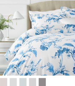 Gift Ideas for Mom - Pinzon Signature 190-Gram Cotton Heavyweight Velvet Flannel Duvet Set - Full-Queen, Floral Smoky Blue