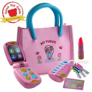 gift ideas for girls - Playkidz My First Purse – Pretend Play Princess Set for Girls with Handbag, Flip Phone, Light Up Remote with Keys