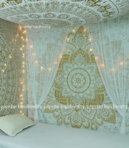Popular Handicrafts Kp715 The Passion Gold Ombre Tapestry Indian Mandala Wall Art, Hippie Wall Hanging, Bohemian Bedspread (140x215cms) Gold on White