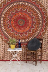 Best Dorm Bedding Sets - Popular Handicrafts Mandala Bohemian Psychedelic Intricate Floral Design Kerala Tapestry Magical Thinking Tapestry Indian Bedspread Tapestry 54x84 Inches,(140cmsx215cms) Red