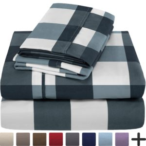 Best Dorm Bedding Sets - Premium 1800 Ultra-Soft Microfiber Sheet Set Twin Extra Long - Hypoallergenic, Easy Care, Wrinkle Resistant (Twin XL, Gingham Blue)