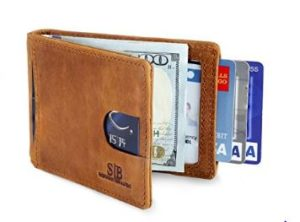 RFID BLocking BiFold Slim Genuine Leather Thin Minimalist Front Pocket Wallets
