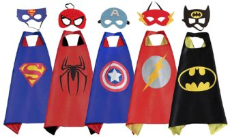 RioRand Comics Cartoon Dress Up Costumes 5 Satin Capes with Felt Masks - Party Costumes for Boys