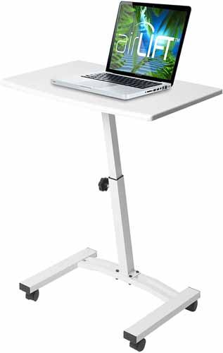 Seville Classics 23.6 inch Solid-Top Height Adjustable Mobile Laptop Desk Cart Ergonomic Table, White