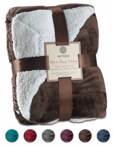 Christmas Gift Ideas for Mom - Sherpa Throw Blanket Ultra Soft Super Luxurious Warm Blanket by Genteele, 60 in X 70 in, Brown