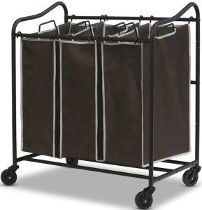 SimpleHouseware Heavy-Duty 3-Bag Laundry Sorter Cart, All Bronze