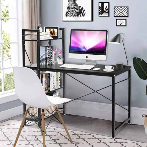 Tangkula 47.5 inComputer Desk, Modern Style Writing Study Table with 4 Tier Bookshelves, Home Office Desk, Compact Gaming Desk, Multipurpose PC Workstation(Black)