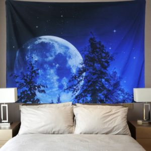 Tapestry Wall Tapestry Wall Hanging Moon and Stars Tapestry Forest Starry Night Sky Tapestry Tree Tapestry Blue Tapestry
