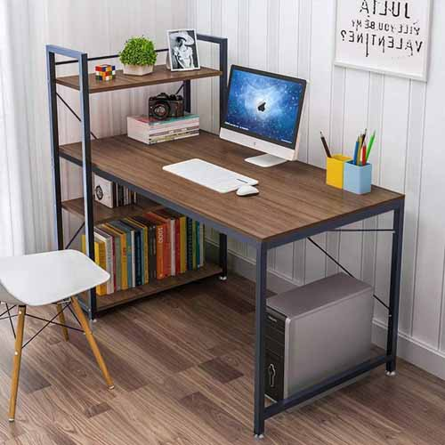 Tower Computer Desk with 4 Tier Shelves (Walnut)