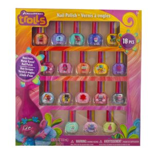 gift ideas for girls - TownleyGirl Dreamworks Trolls Best Peel-Off Nail Polish, Deluxe Gift Set for Kids, 18 Count Colors, some with Glitter