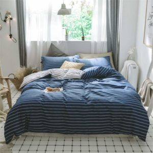 VCLife Striped Bedding Sets Blue White Cotton Duvet Cover Twin