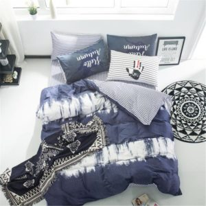 VClife Duvet Cover Sets Queen Kids Bedding Sets Navy White Grey Striped Geometric Abstract Design Reversible-1 Duvet Cover