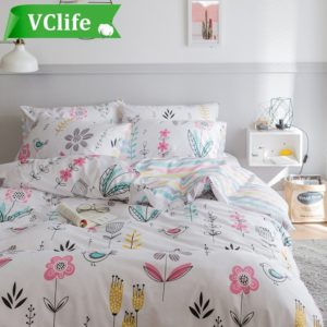 Best Dorm Bedding Sets- VClife Floral Leaves Duvet Cover Sets Cotton Bedding Sets for Adults Women Girls Hotel Quality Bedding Duvet Cover with 2 Pillow Cases