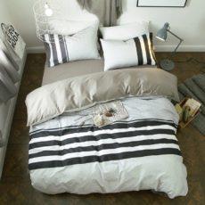 Best Dorm Bedding Sets - VClife Twin Bedding Sets Reversible Cotton Geometric Duvet Cover Sets Stripe Bedding Collection (Including 1 Duvet Cover + 2 Pillowcases), Twin