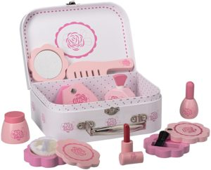 gift ideas for girls - Wooden Girls Pretend Beauty Playset With All Beauty Accessories By Dragon Drew (10 PC Set)