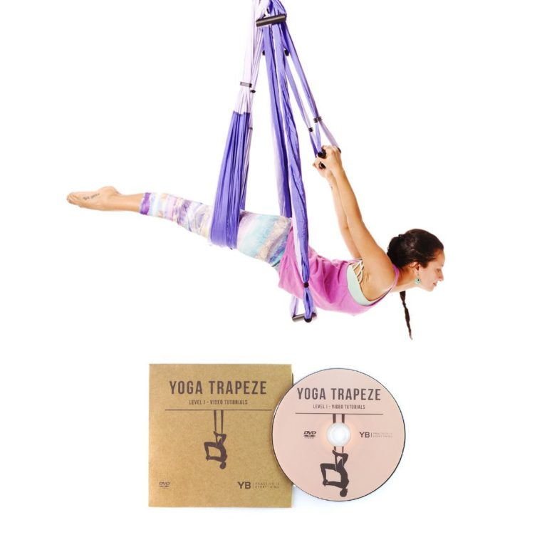 YOGABODY Yoga Trapeze - Yoga Swing, Sling, Inversion Tool, Purple with Free DVD
