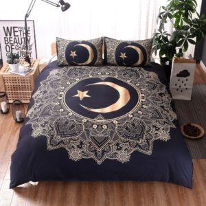 YOUSA Golden Sun Moon All Over Mandala Print Bedding Set Bohemian Duvet Cover Set (Twin,04)